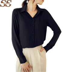 Women Blouse Button Long sleeve Shirt Female Chiffon