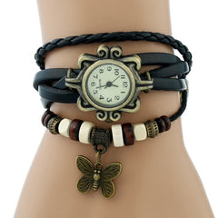 Gnova Platinum TOP Leather Bracelet Watch Bronze BUTTERFLY  Ethnic Fashion