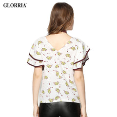 Glorria Women Chiffon Print Short Batwing Ruffles Sleeve Blouses Summer Casual Fashion