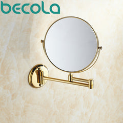 Double Side Bathroom Folding Brass Shave Makeup Mirror Gold Plated Wall Mounted BR-6738