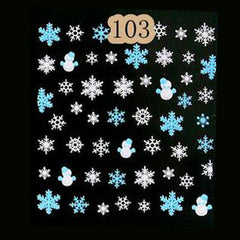 4 sheets Snowflakes Snowman 3D Nail Art Stickers girl tattoos nail accessories