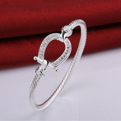 Filled Horse Shoe Water Drop Stamped silver plated Bracelet for Women