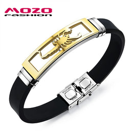 Stainless Steel Scorpion Design Silicone / Rubber Wristband for Men