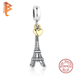 Sterling Silver PARIS EIFFEL TOWER PENDANT CHARM with Gold Color Heart Charm fit