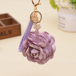 Ornaments Charm Leather strap Rose Flower Keychain For Women