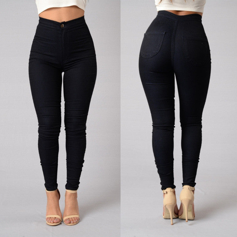 Solid Casual Jeans High Waist Pencil Pants Denim Jeans Stretch Skinny Leggings Pants