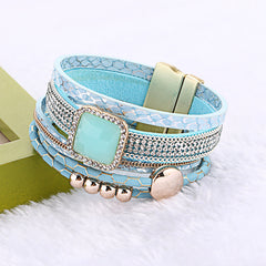 Multilayer Rhinestone Magnetic Handmade Leather Bracelets