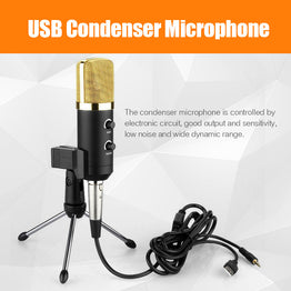 MK-F100TL Condenser Sound Recording Audio Processing Wired Microphone with Stand