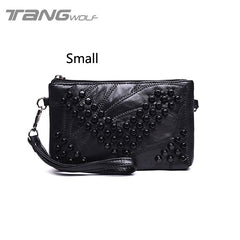 Genuine Leather Women Messenger Bags Rivet Shoulder Bag Clutch High Quality