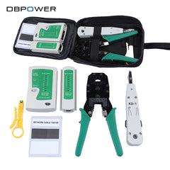 Cable Tester RJ45 Kit Crimper Tool Punch Cat5 Cat6 Wire Line Detector