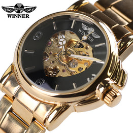 Skeleton Watches Women Steel Strap Mechanical Dress Watch