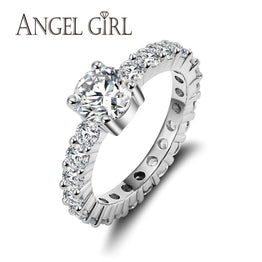 White Gold Plated Zirconia Wedding Engagement Ring For Women
