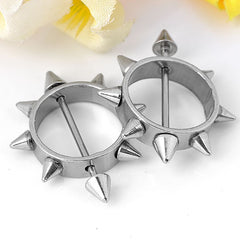 Stainless Steel 2Pcs Round Piercing Shield Ring