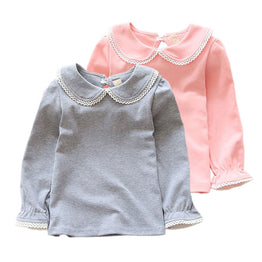 Pink & White Solid Long Sleeve Tee for Girls