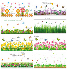 Flowers Foot Line Baseboard Wall Sticker Wall Decal Adhesive Home Decor