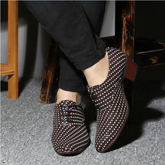 6cm High Heel Knit Weave Mens Leather shoes 2.3''  Mosaic Plait