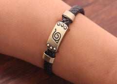 Akatsuki Itachi Logo Leather & Alloy Bracelets & Bangles for Women
