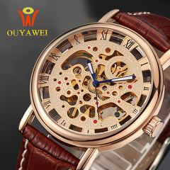 Extravagance Brand Gold Skeleton Fashion calfskin Watch