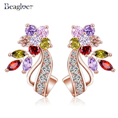 Clear Zirconia Stone Flower Stud Multicolor Earring