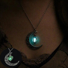 Silver Plated Moon Glowing Charm Jewelry Necklace for Halloween