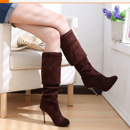 Fashionable Nubuck Sexy Leather Stovepipe Over the Knee High Heels Shoes