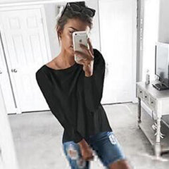 Women Fashion Blouses Shirt Long Sleeve Back Hollow Loose Sexy Shirt