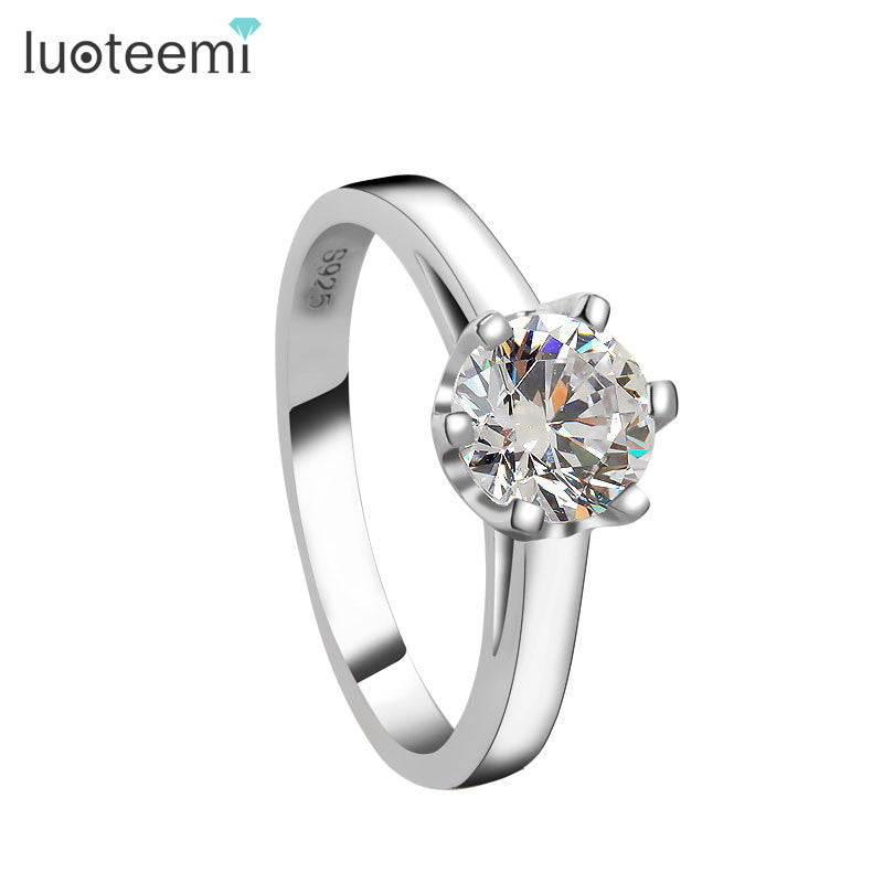 1 Carat Cubic Zirconia 925 Sterling Silver Rings for Women