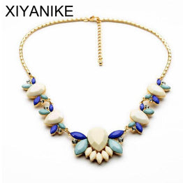 Resin Flower Gold Plated Choker Statement Necklaces & Pendants