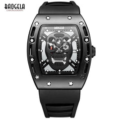 Baogela Fashion Men's Skeleton Skull Luminous Quartz Watch