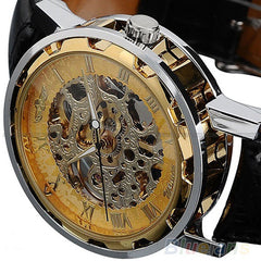Luxury Fashion Stainless Steel Skeleton Mechanical Watch for Man
