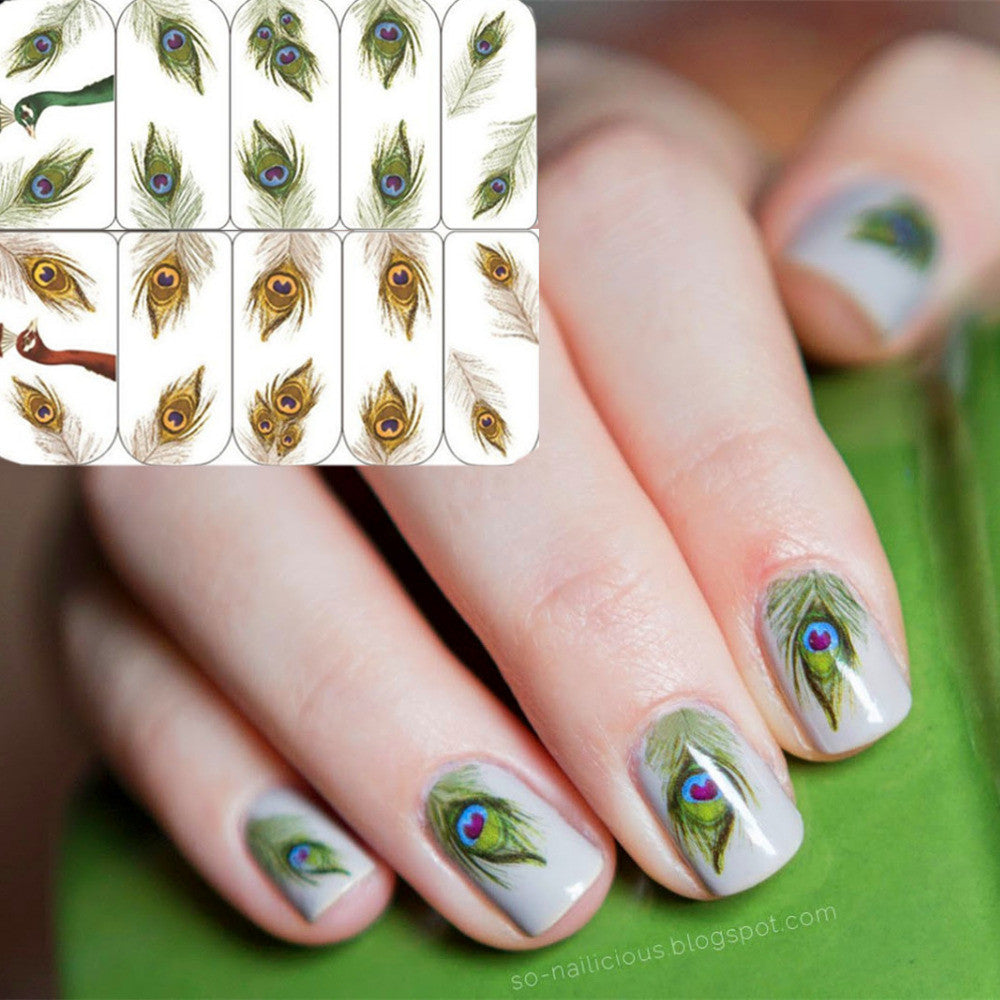 Nail Art 1 Sheet Water Decals Transfer Stickers Fantastic Feather Pattern Sticker