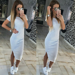 Casual Women Short Sleeve Round Neck Slim Fit Bodycon Dress