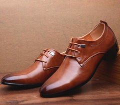 Brown Oxfords Lace Up  Pu Leather Men Shoes