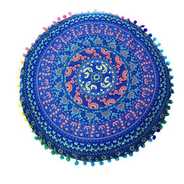 Indian Mandala Floor Pillows Round Bohemian Cushion Pillows Cover