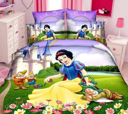 Snow White and the 7 Dwa single bedding sets in twin size for Children's bedroom