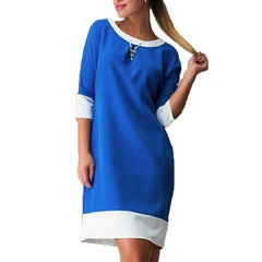 Women Spring Patchwork Dress European Style 3/4 Sleeve Female Casual Loose Dresses