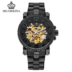 ORKINA Relojes Top Branded Mens Classic Stainless Steel Self Wind Skeleton Mechanical Watch