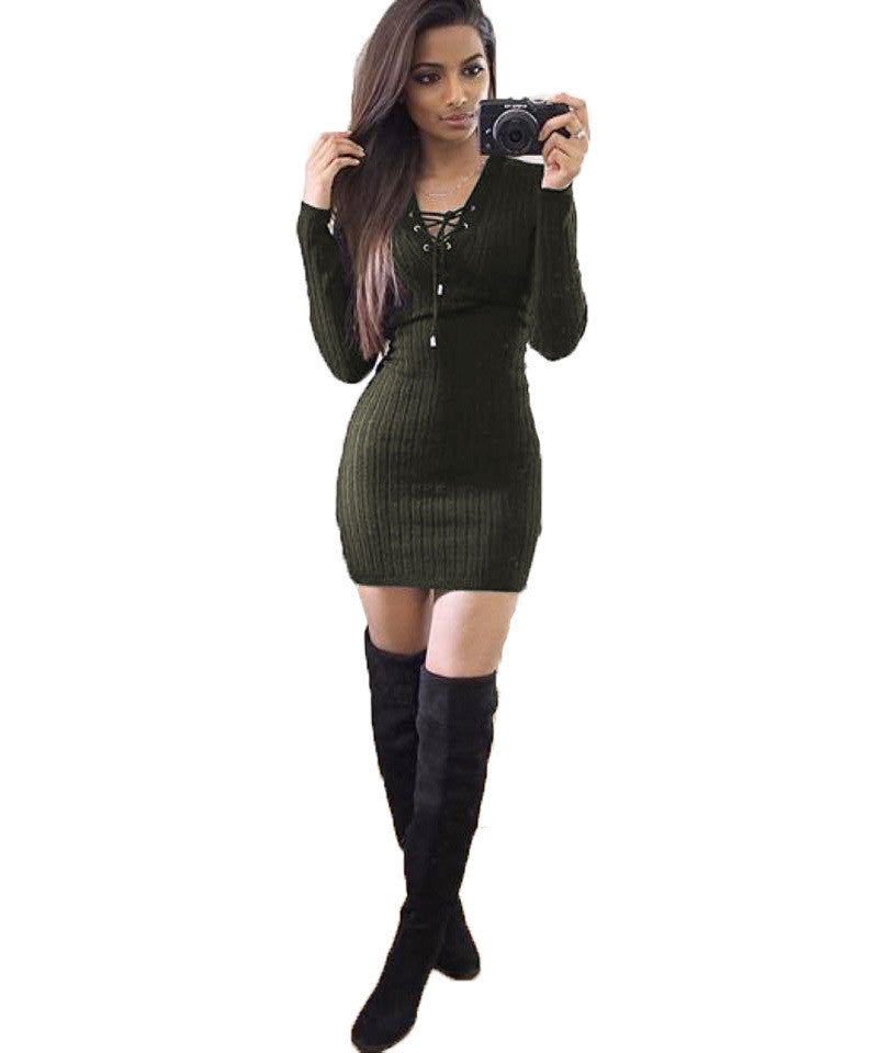 Women Evening Sexy Bandage Sweater Knitted Dress Long Sleeve Mini Dress