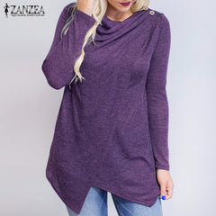 ZANZEA Women Blouses Shirts Long Sleeve O Neck Fashion