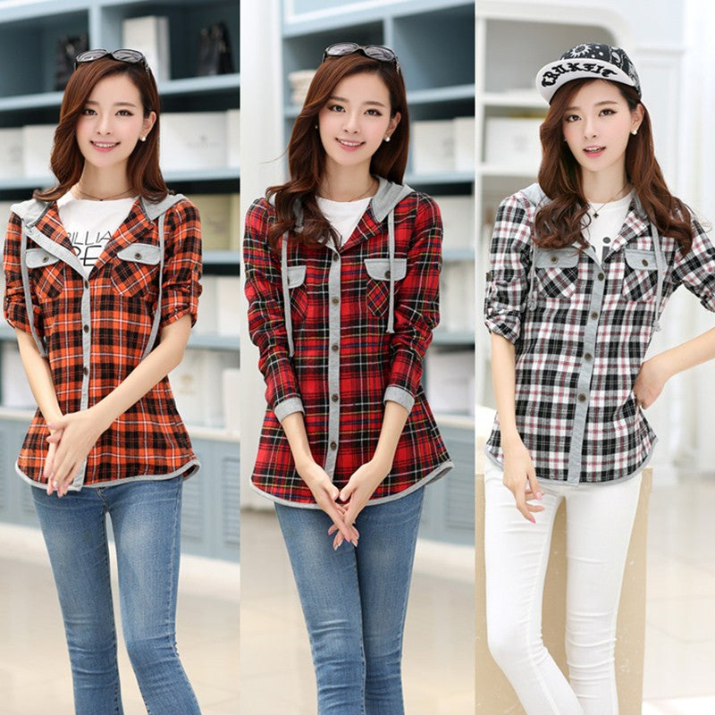 Women's casual slim long-sleeve plaid shirt with a hood