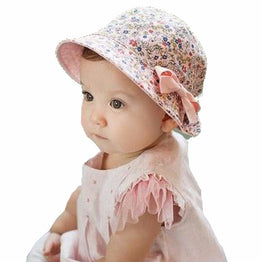 New Double Sides Flower Print Cotton Baby Summer Hat with Bow