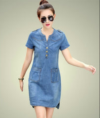 Summer women denim dresses short sleeves loose plus sizes v-neck solid denim dresses