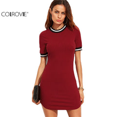 COLROVIE Korean Fashion Women Fall Dresses Burgundy Striped Trim Ribbed Knit Bodycon Dress