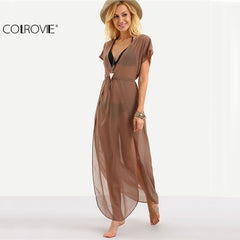 COLROVIE Ladies Brown Drawstring Waist V Neck Split Dresses