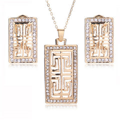 Gold Plated Imitation Crystal Jewelry Sets For Women Geometric Pendant Necklace