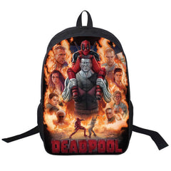 Fashion Cool 3D Printing Boys Backpack Casual Style Deadpool Characters