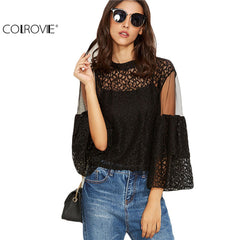 COLROVIE Black Lace Mesh Insert Keyhole Back Shirt With Cami Top Women 3/4 Sleeve