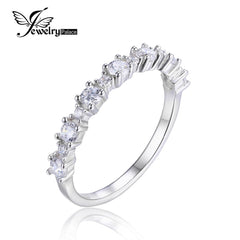 Sterling Silver Cubic Zirconia Band Ring 925 Romantic Flower Shape