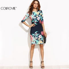 COLROVIE Women Navy Blue Flower Print Party Autumn Half Sleeve Midi Dresses