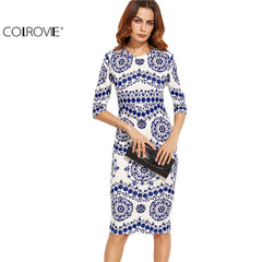COLROVIE Blue And White Porcelain Print Slim Pencil Dress Office Midi Dress